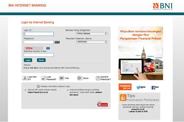 Pembayaran via Internet Banking BNI