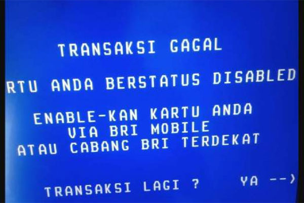 Penyebab Kartu ATM BRI Disable