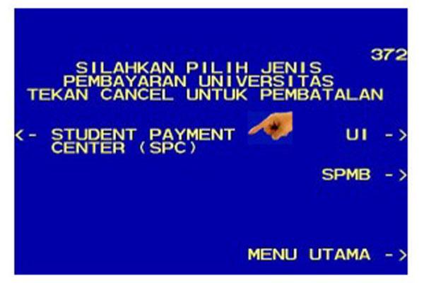 pilih menu Student Payment Center.