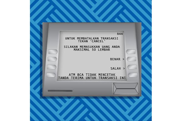 setor uangnya di ATM sesuai jumlah yang tertera 1