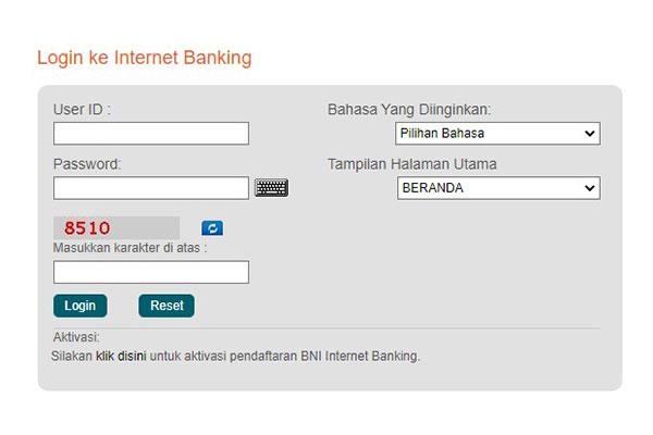 silahkan login dengan memasukan User ID dan Password