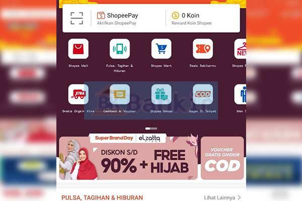 Buka aplikasi Shopee dan pilih menu Shopeepay