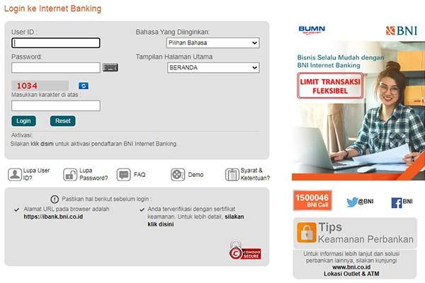 Buka Internet Banking BNi