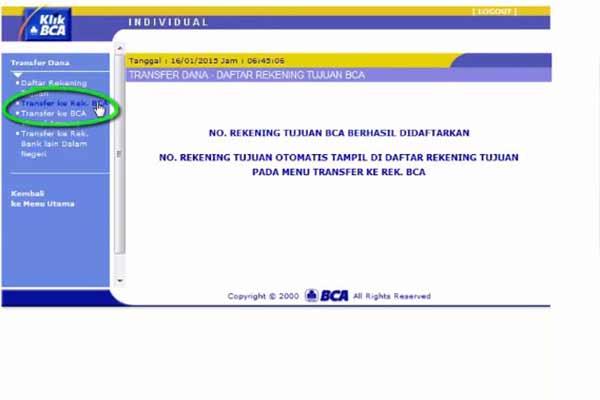 Klik Transfer ke Rek BCA