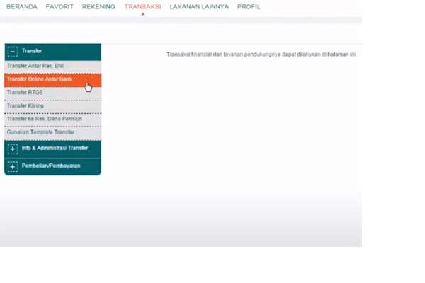 Klik menu Transaksi Transfer Online Antar Bank