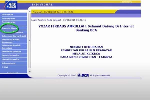 Klik menu Transfer Dana