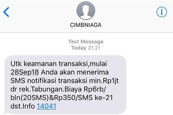 Cara Daftar SMS Banking CIMB Niaga