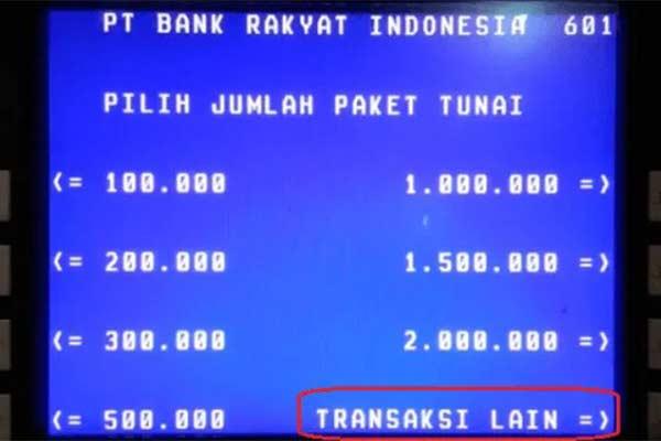 Melalui ATM Bank BRI