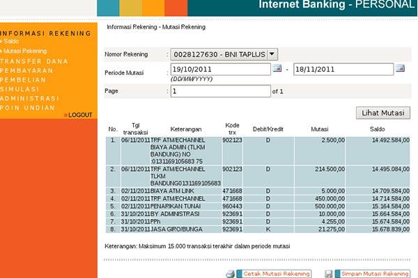 Cetak Rekening Koran Melalui Kantor Cabang Bank BNI