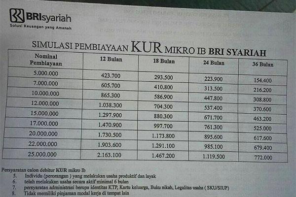 Tabel KUR Mikro iB 25
