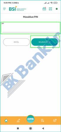 7. Input PIN BSI Mobile 1