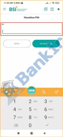 7. Input PIN BSI Mobile 2
