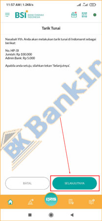 7. Konfirmasi Transaksi Tarik Tunai
