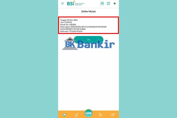 7. Mutasi Rekening Bank Syariah Indonesia Ditampilkan