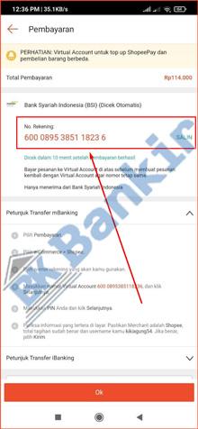 7. Salin Nomor Virtual Account Shopee