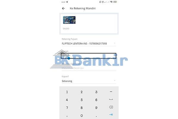 Masukkan Nominal Isi Saldo Flip Banking