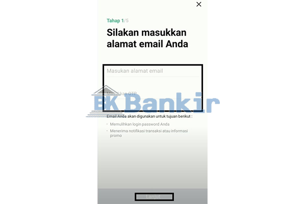 Input Email Kode OTP