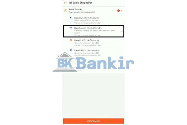 Pilih Bank Transfer