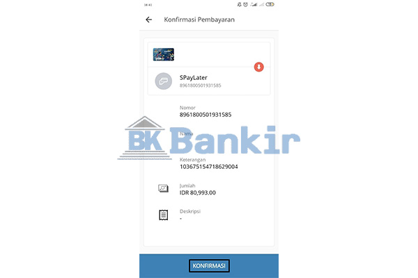 Konfirmasi Bayar ShopeePay Later di Mandiri Online