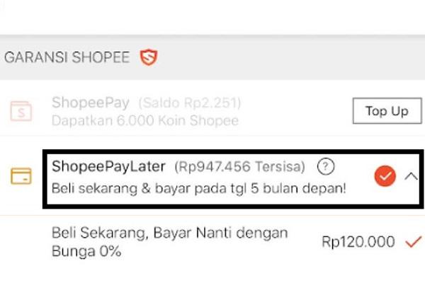 Pilihan Tenor Cicilan ShopeePay Later