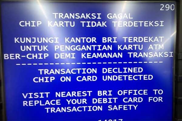 Chip ATM BRI Tidak Terdeteksi