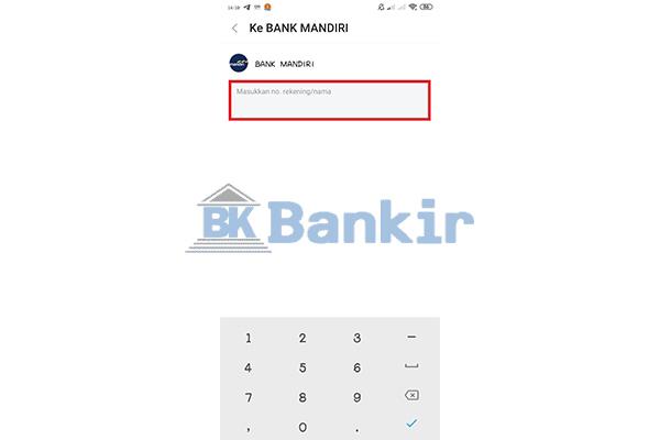 Input Nomor Rekening Bank Lain