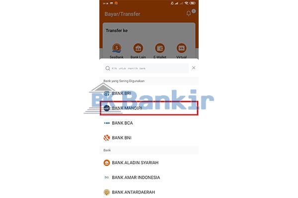 Pilih Bank Tujuan 1