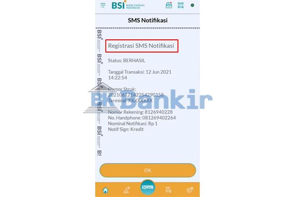 Aktivasi SMS Notifikasi BSI Mobile Berhasil