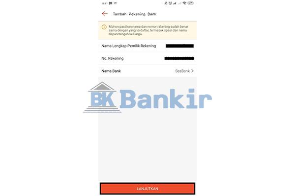 Input Data Pengguna SeaBank