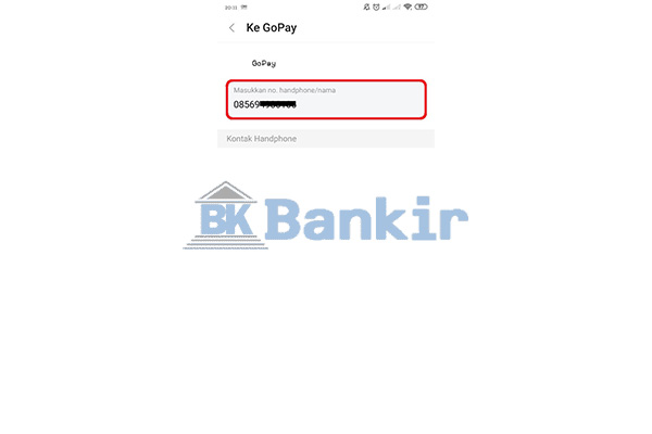 Input Nomor GoPay