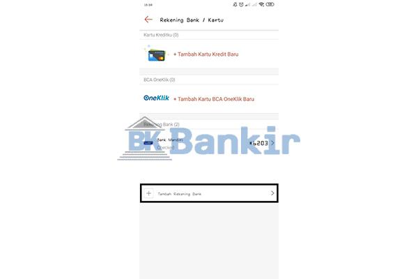 Klik Tambah Rekening Bank