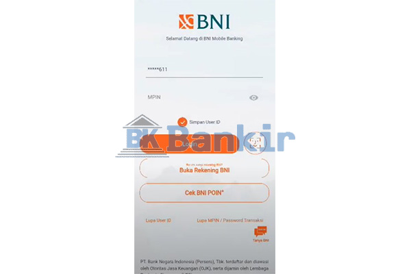 Login BNI Mobile