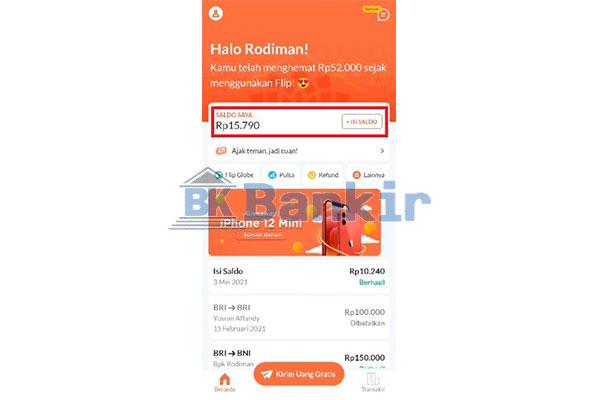 Saldo Flip Sudah Bertambah Top Up Flip Banking via BNI Mobile Berhasil