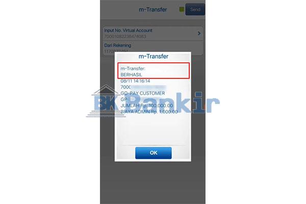 Top Up GoPay via BCA Mobile Berhasil