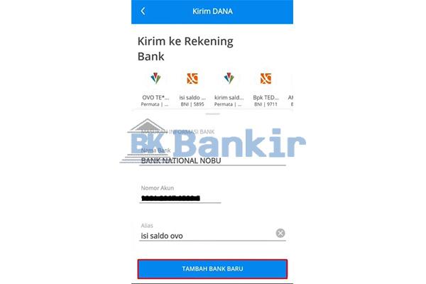 Klik Tambah Bank Baru